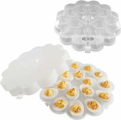 Deviled Egg Trays Snap On Lids Set of 2 Protects Safe Lid Carrier Plates Clear