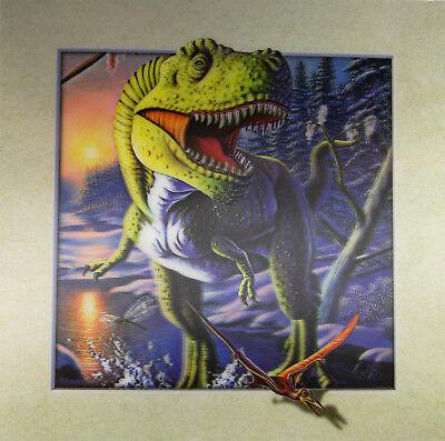 3D Lenticular Poster - Dinosaur T-Rex Running -16 x16 Print