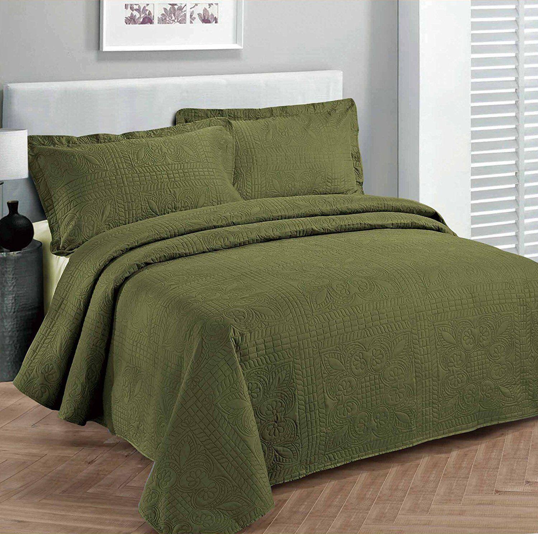 Fancy Linen Oversize Luxury Embossed Bedspread Solid Olive G
