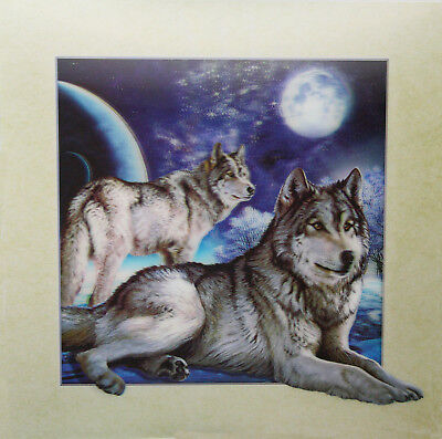 3D Lenticular Poster - Wolf and Full Moon -16x16 Print-