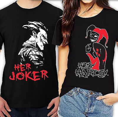 Her Joker His Harley Halloween couple matching funny cute T-Shirts - Cute Halloween Couples
