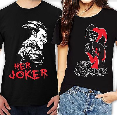 Her Joker His Harley Halloween couple matching lOVELY cute T-Shirts - Cute Halloween Couples