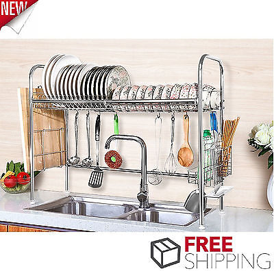 Dish Drying Rack Stainless Steel Dish Storage with Chopstick Holder Rrustless