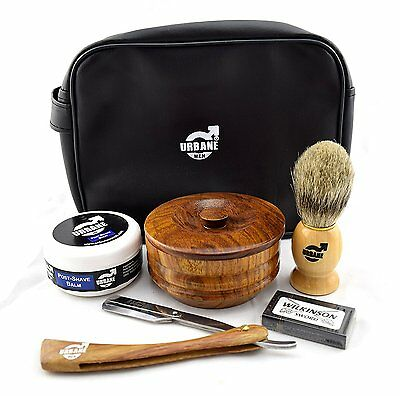 Urbane Men Traditional Shaving Complete Kit Gift Set - with Shaving Bowl, Soap,