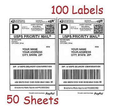 100 Half Sheet Shipping Labels For Laserinkjet For Ebaypaypaluspsupsfedex
