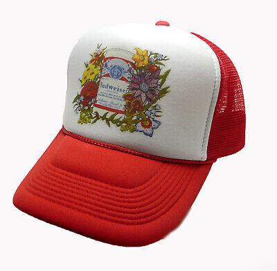 1980's Budweiser Beer Trucker Hat mesh hat snap back hat Red vintage New ()