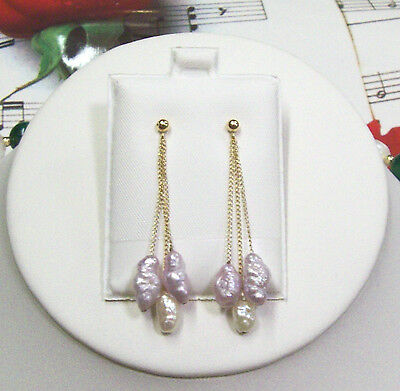 Fresh Water Pearls With 14K Gold Filled Chain 3 Strand Earrings. 1.75