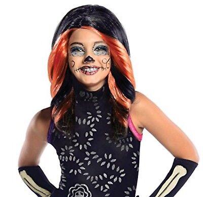 Monster High Skelita Calaveras Wig Black Orange Child New - Skelita Halloween Wig