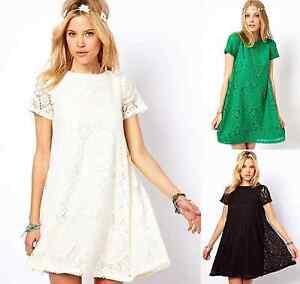 Ladies-Fashion-Crochet-Lace-Loose-Festival-Boho-Hippie-Dress-Black-8-10-12-14