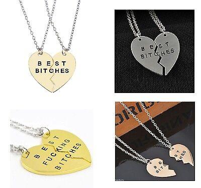 2pcs Best Bitches Friendship Necklace Set Best Friends Sisters Heart