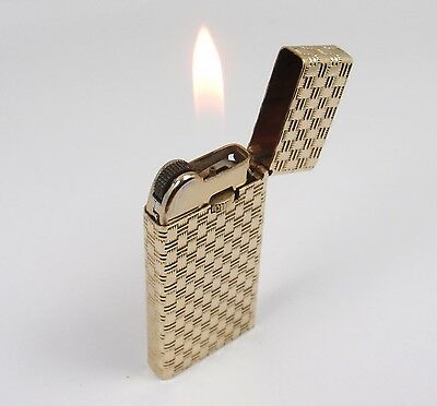 Vintage Tiffany & Co 14K Gold Basket Weave Slim Cigarette Lighter