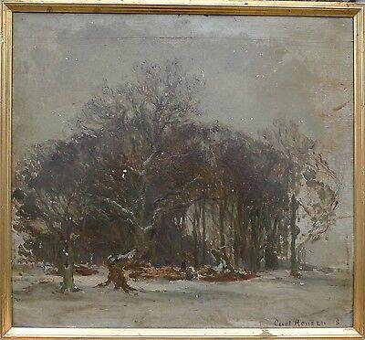 CARL HANSEN (DANISH 1872-1934) LANDSCHAFT IM WINTER -ÖLGEMÄLDE -1908 DATIERT