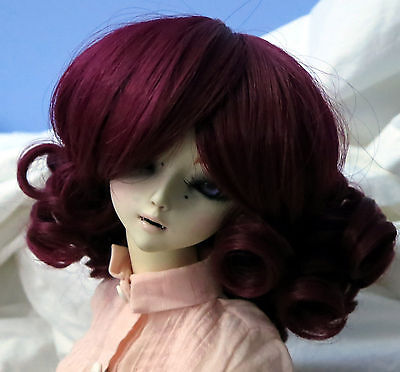 Doll Wig Short Ringlets Burgundy Red Bjd Ball Jointed Size 6, 7, 8, 9