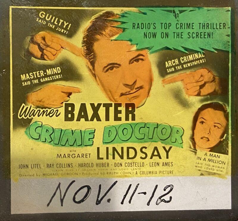 CRIME DOCTOR Rare 1943 Crime Drama Film WARNER BAXTER Mystery Movie Glass Slide