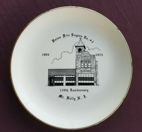 UNION FIRE ENGINE CO #2 Souvenir Plate MT HOLLY NEW JERSEY 170th Anniversay 1975