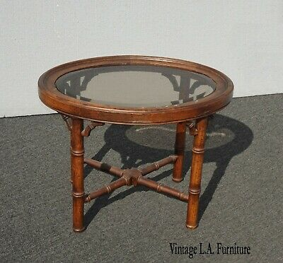 Vintage French Country Oval Smokey Glass Oak End Table Side Table Glass Country End Table
