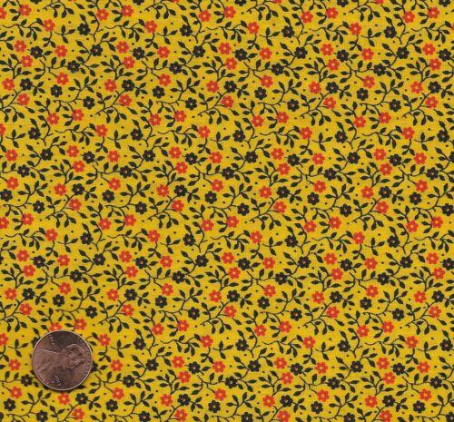 Vintage Deep Yellow Calico Fabric