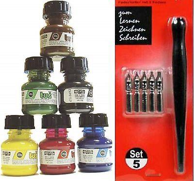 Zeichentusche Set KOH-I-NORR 6 Farben a 20gr. (100gr./10,73€) + Kalligraphieset