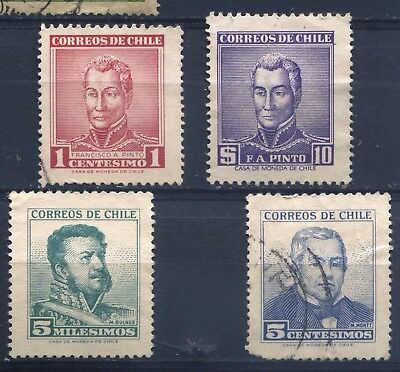 CHILE 1960 to 1967 four used stamps