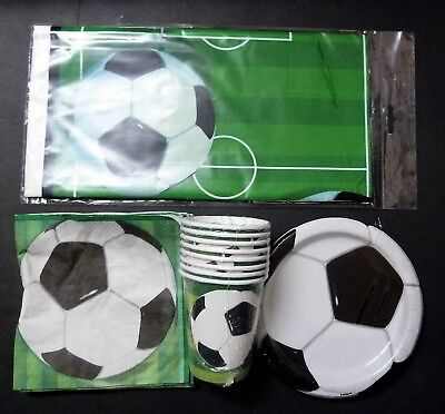 Soccer Theme Party Plates Cups Napkins Table Cloth For 8