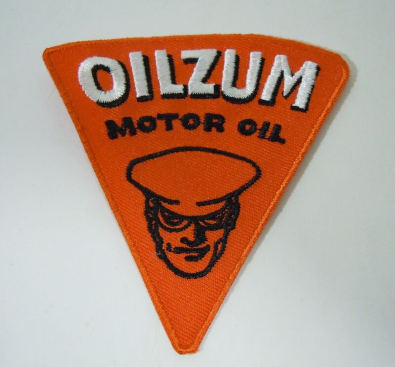 "OILZUM Motor Oil Embroidered Iron On Uniform-Jacket Patch 3.5"" Triangle"