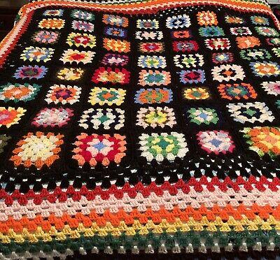 """Vtg Granny Square Black Afghan Crochet Throw Blanket 66x68"""" Handmade"""