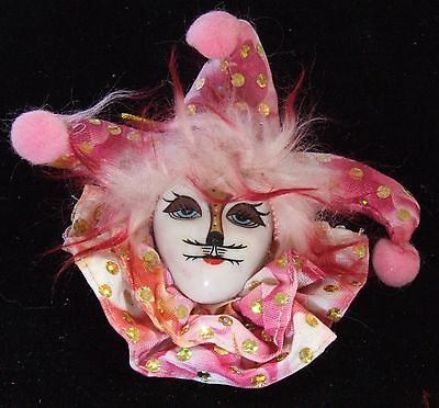 Jester Cat (Porcelain Jester Cat Face Pink Ornament Mardi Gras Orleans Tree Favor)