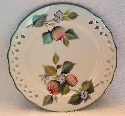 (Brunelli,Salad Plate,Italy,Hand Painted,Fig & Flower,Pierced Lattice Work,1980's)