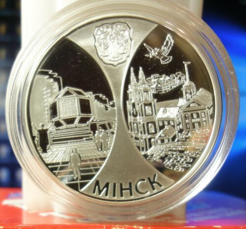 Belarus Silver Proof 20 Roubles~ Minsk Capital of Belarus