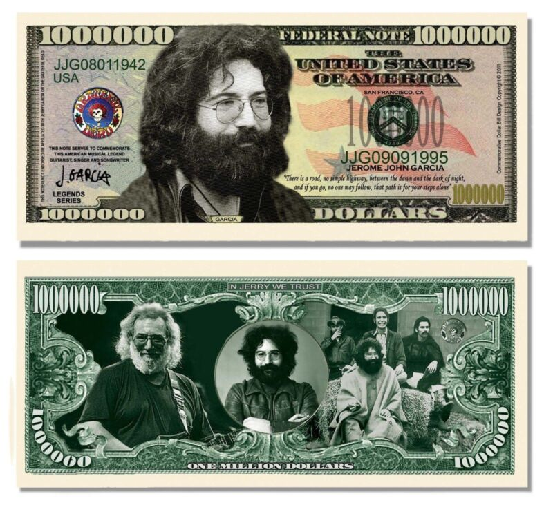 Jerry Garcia Grateful Dead Million Dollar Funny Money Novelty Note + FREE SLEEVE