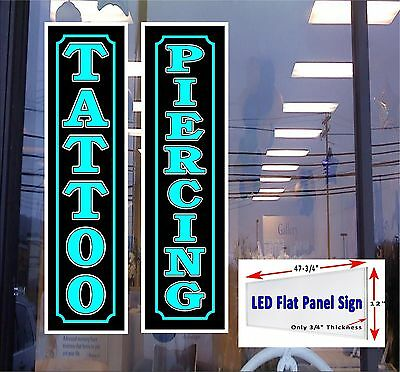 Tattoo Piercing Led Flat Panel Light Box Window Signs 48x12 Free Shipping