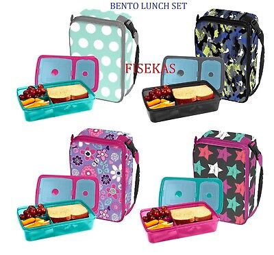 2 Ice Lunch Bag - Classic Bento Expandable Insulated Lunch Bag & Container w/ 2 Ice Packs BPA Free