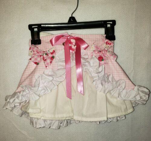 Hello Kitty Pink and White Ruffled Handmade 3T Toddler Girls Skirt Set