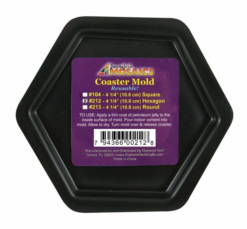 "4 1/4"" Hexagon Coaster Mold Reusable Durable Plastic Mosaic Supplies Jennifer"