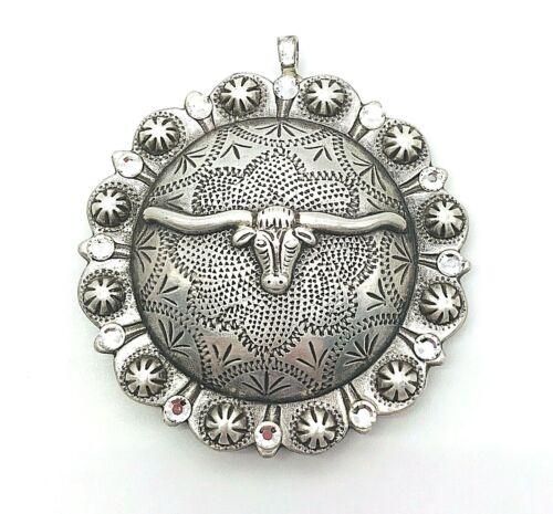 Concho Longhorn Cowgirl Western Chunky Pendant Silver tone Rhinestone Necklace