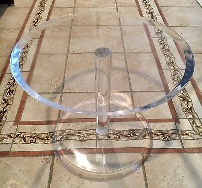 "20"" Diameter X 16"" High X 2"" Thick Clear Lucite END TABLE"