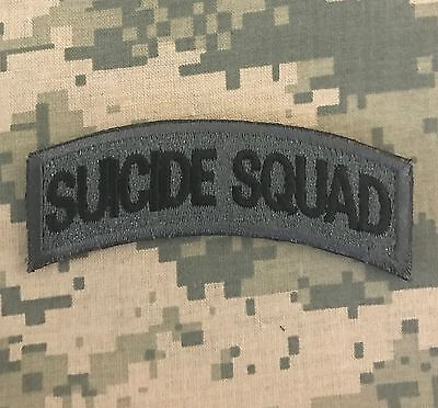 SUICIDE SQUAD ARMY TAB ROCKER TACTICAL USA MILITARY MORALE ACU DARK HOOK PATCH