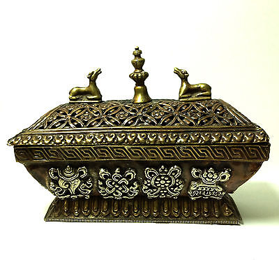 Antique Box Rare Tibetan Art Metal Geometric Pattern Figural Decorative Copper