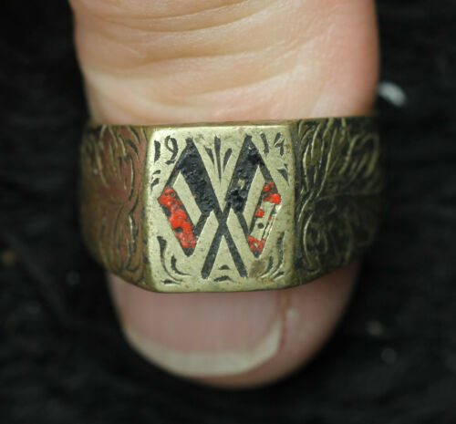 German WWI Ring Prussia Flag - Patriotic Trench Art 1914