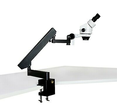 Parco 7x-45x Binocular Zoom Stereo Microscope With Articulating Arm Clamp Stand