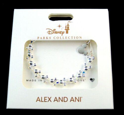 Disney Alex & Ani Bracelet✿ Mickey Mouse Minnie Icon Beaded Crystals Silver
