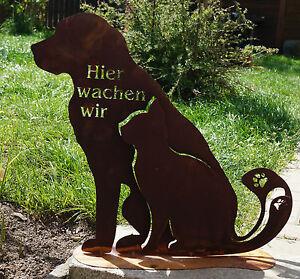 Edelrost Hund und Katze 3D  Text Spruch Garten Haustiere Terrasse Eingang Figur