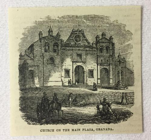 small 1880 magazine engraving~ CHURCH ON THE MAIN PLAZA, Granada, Nicaragua