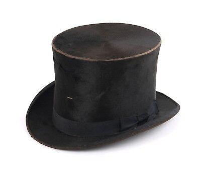 Vtg B&K CO. Victorian / Edwardian Black Silk Plush Stove Pipe Top Hat