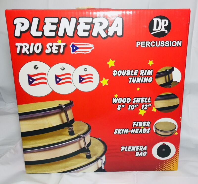 Plenera Trio Set Of 3 DrumsPercussion with Carry Bag Painted Puerto Rico Flag.