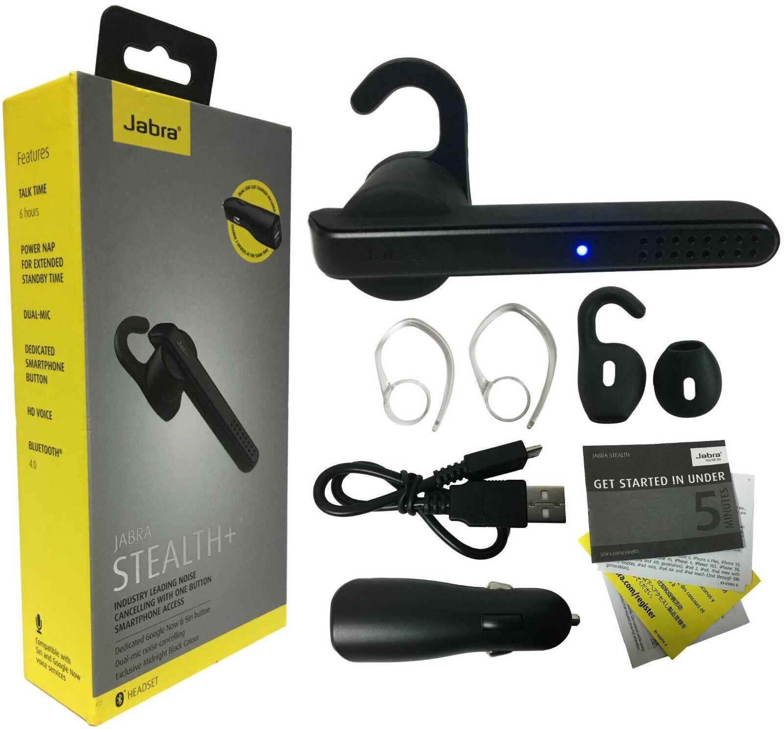Jabra Stealth+ Plus Midnight Wireless Bluetooth Headset Voic