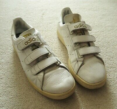Adidas Original Stan Smith White Metallic Gold Velcro Size 7 Sneakers Trainers, used for sale  Shipping to South Africa