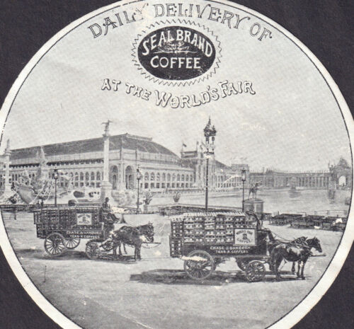 Chase & Sanborn Coffee Delilvery Wagon 1893 Chicago Worlds Fair Seal Brand Card