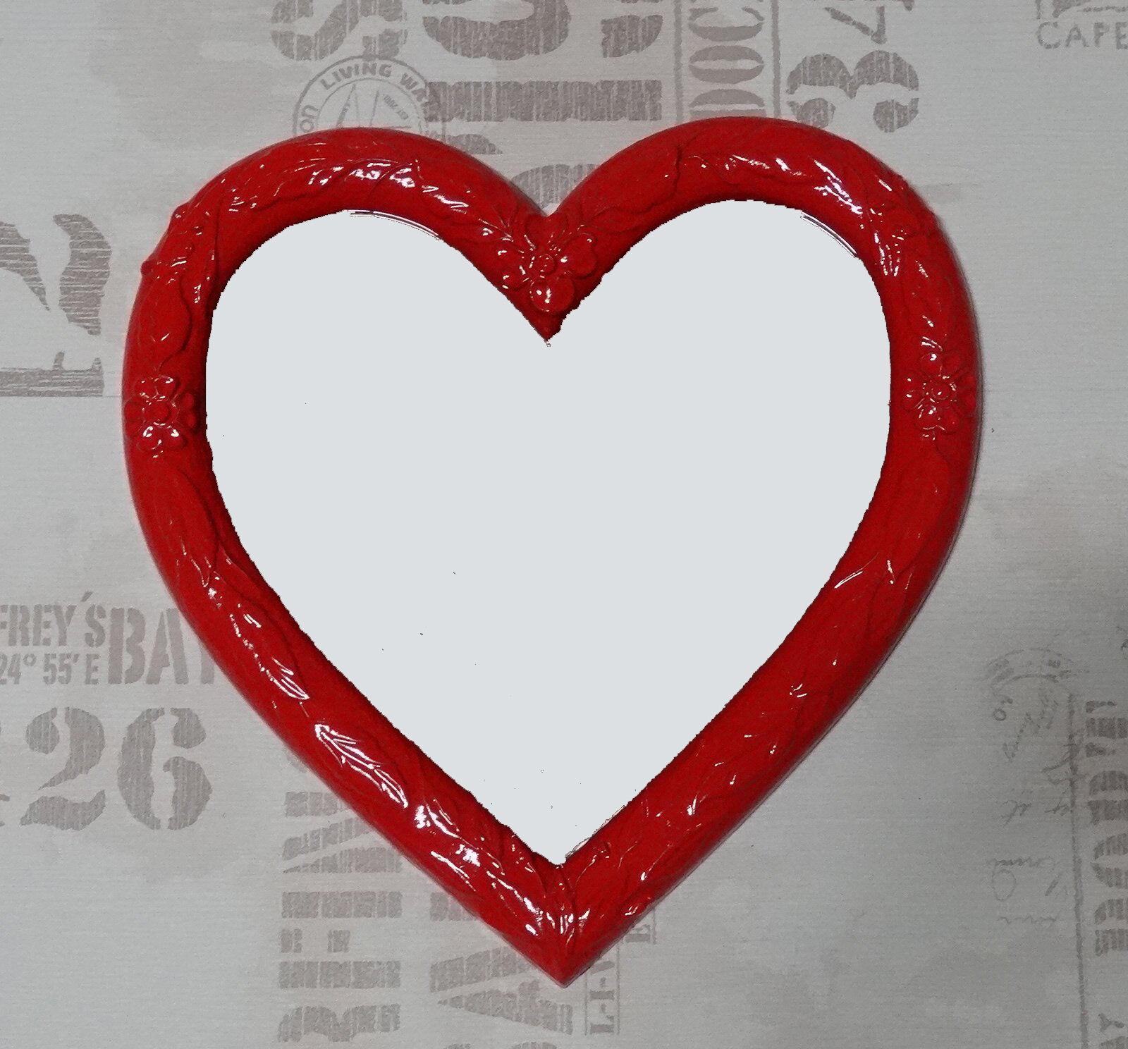 Arte Y Antigüedades Muebles Antiguos Y Decoración Espejo De Pared Corazón Forma Barroca Negro Regalo Amor Nuevo 26