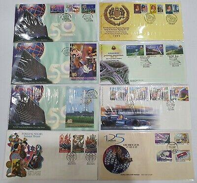 Malaysia 1999 FDC 8pcs KL Cancellation Part 3 TNB 50 Anniversary, Agong, F1, UPU